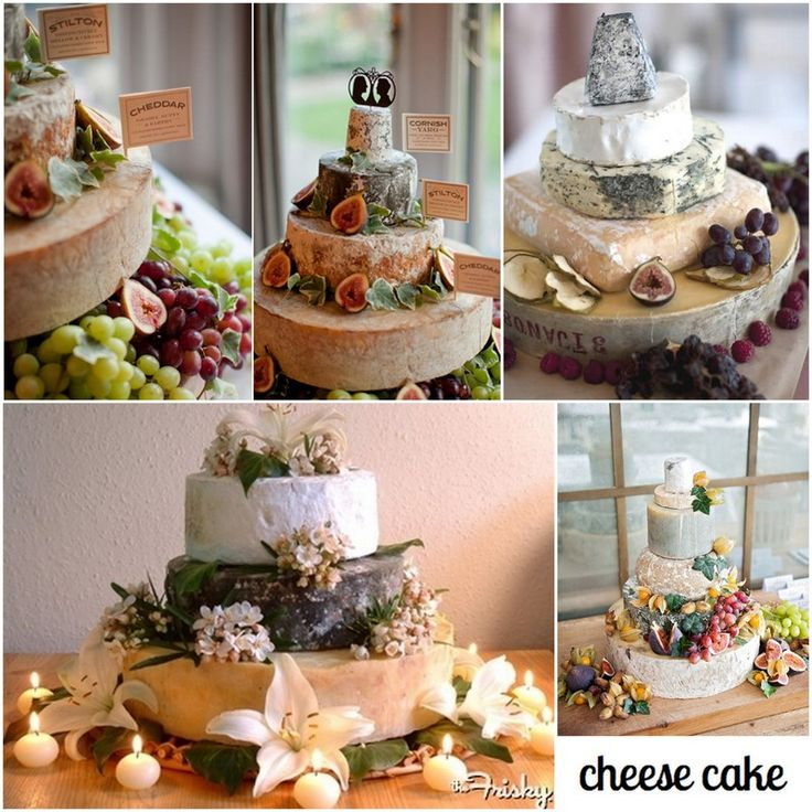 """How awesome - stacked cheeses for a wedding """"cake""""!"""