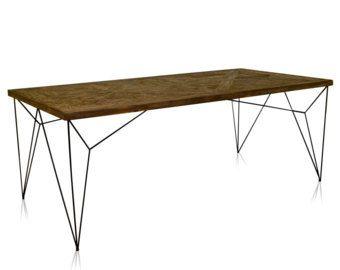 Mesa de comedor, mesa de la sala de conferencia, reciclado de madera patas de mesa de comedor, mesa de comedor, mesa de comedor, mesa de comedor rústico, Industrial