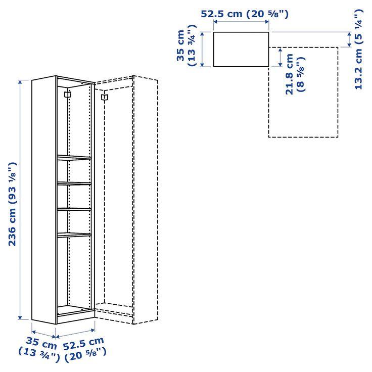 pax white add on corner unit with 4 shelves 53x35x236 cm ikea