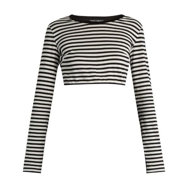 Dolce & Gabbana Striped cotton-jersey cropped top (€370) ❤ liked on Polyvore featuring tops, black stripe, slimming tops, stripe crop top, nautical striped top, cotton jersey and striped top