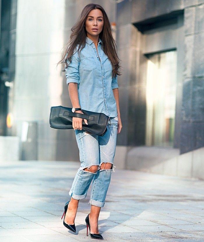 17 meilleures id es propos de chemises en jean sur pinterest tenues de chemise de jean - Que mettre avec un jean bleu ...