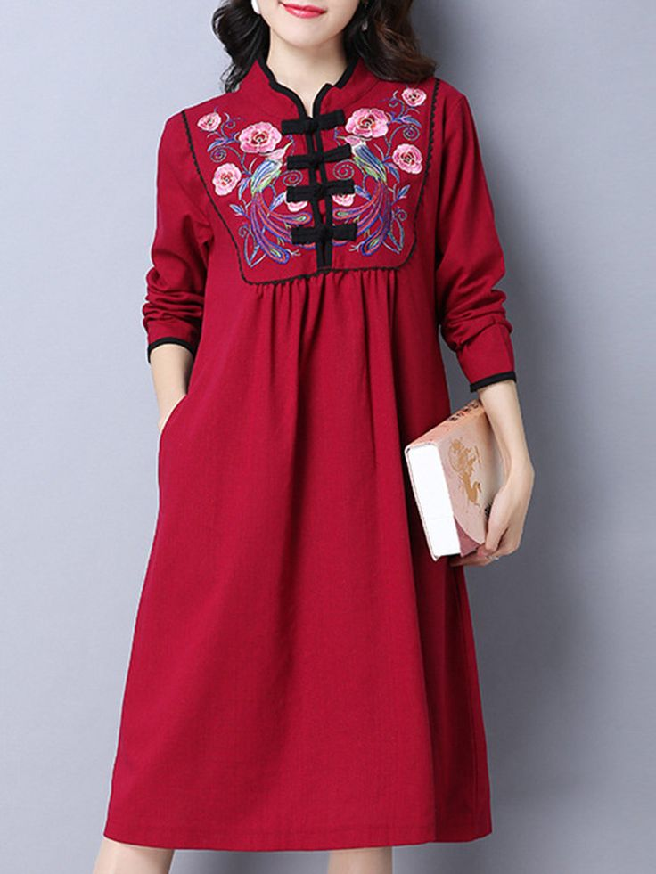 Vintage Embroidered Plate Buckle Long Sleeve Pocket Dresses