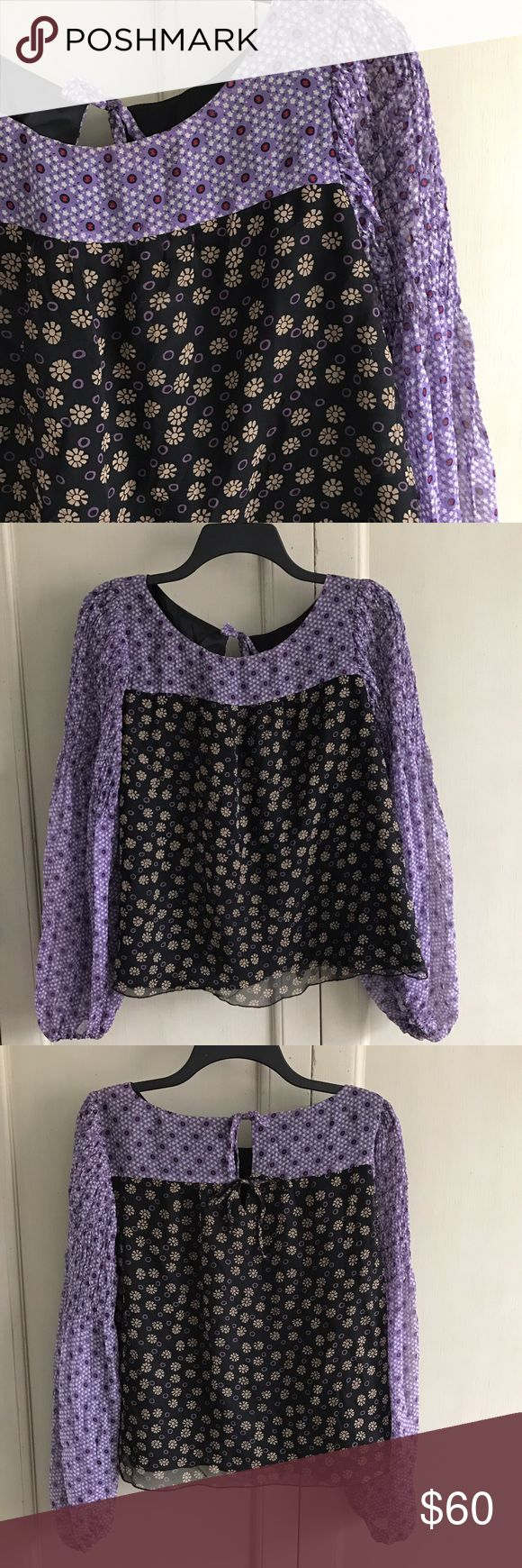 Anna Sui Silk Blouse Top Floral Boho Peasant Slv This Anna Sui top is in excellent condition with no flaws. It's made of 100% silk and has an acetate lining.     Bust: 21.75 inches.    Length: 22.25 inches.     Sleeve: 23.5 inches Anna Sui Tops Blouses