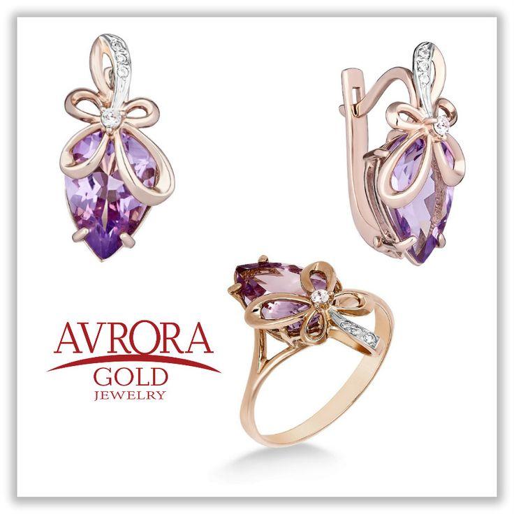 Замечательный комплект в виде лепестков со вставками аметиста и циркона   #AvroraGold #Jewelry #girls #fashion #style #серьги #кольцо