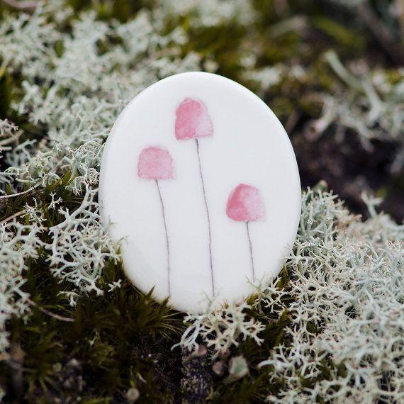 Brooch porcelain pink fungi mushroom handmade nature