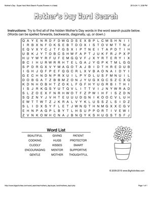 Mother's Day word search puzzle with flowers in a vase. 4 levels of difficulty. Word search changes each time you visit