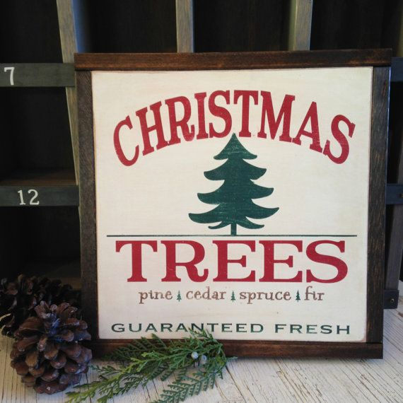 CHRISTMAS TREES - vintage Christmas sign - country Christmas - Christmas trees for sale - rustic woodland decor