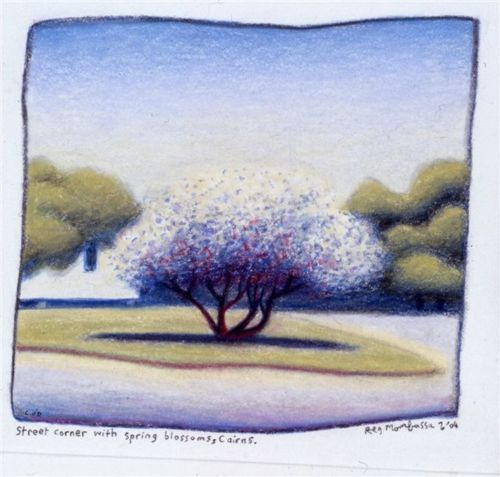 Street corner with spring blossoms, Cairns charcoal and coloured pencil on paper. From the official Reg Mombassa site.