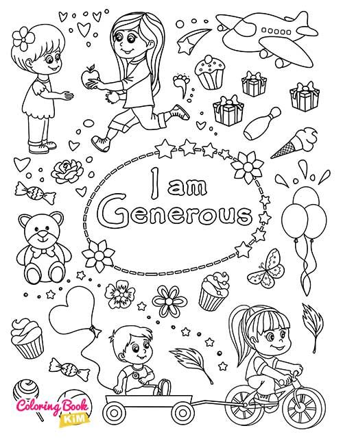 I Am Generous Coloring Page For Girls In 2020 Coloring Books Book Girl Positive Character Traits
