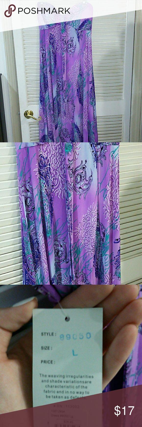 Purple Maxi Dress Strapless purple maxi dress with aqua and blue pattern. Never worn. Dresses Maxi