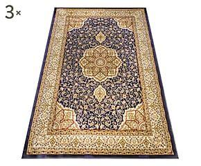 Parure di 3 tappeti Kashan blu navy - max 80x150 cm