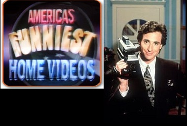 "America's Funniest Home Videos. Can't you just hear the theme song now? ""Let that camera roll! You're the red, white and blue. America, America, this is you."""