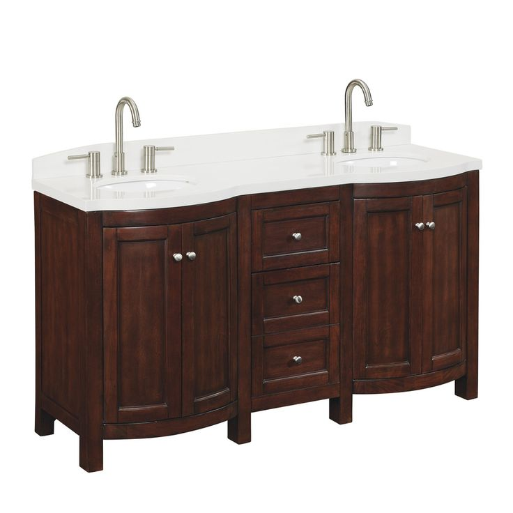 Shop allen roth 60 in sable moravia double sink bathroom vanity with top at Lowes bathroom vanity and sink