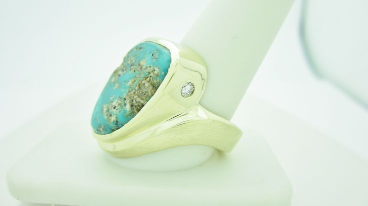 14k Men's Turquoise & Diamond Ring  Check out our eBay store stores.ebay.com/newbeginings10