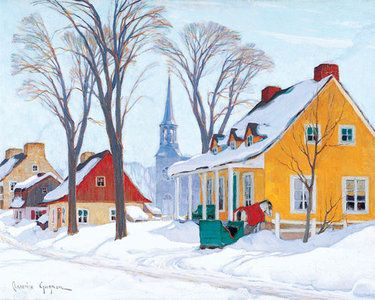 """""""Winter Morning in Baie-Saint-Paul"""" by Clarence Gagnon"""