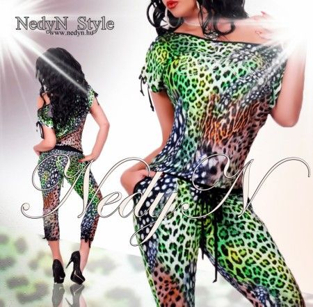 NedyN zöld párduc mintás női  overál strassz dísszel