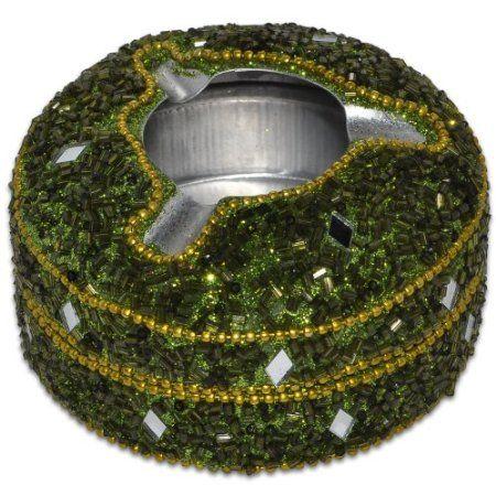 Olive Green Aluminium Beaded Ashtray from India