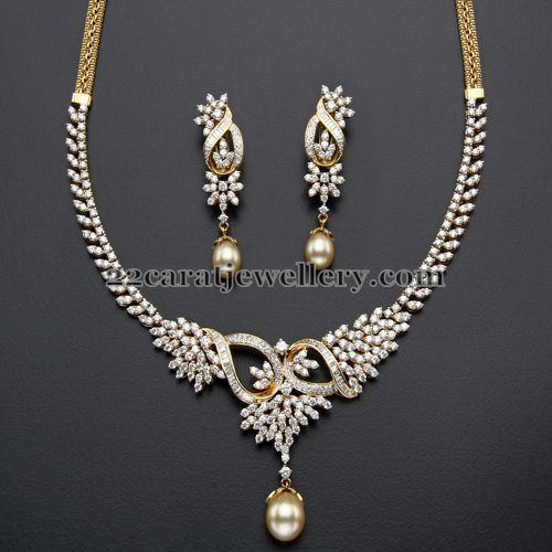 Jewellery Designs: 4 Lakhs Diamond set with Earrings