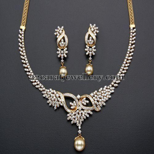 Jewellery Designs: 4 Lakhs Diamond set with Earrings