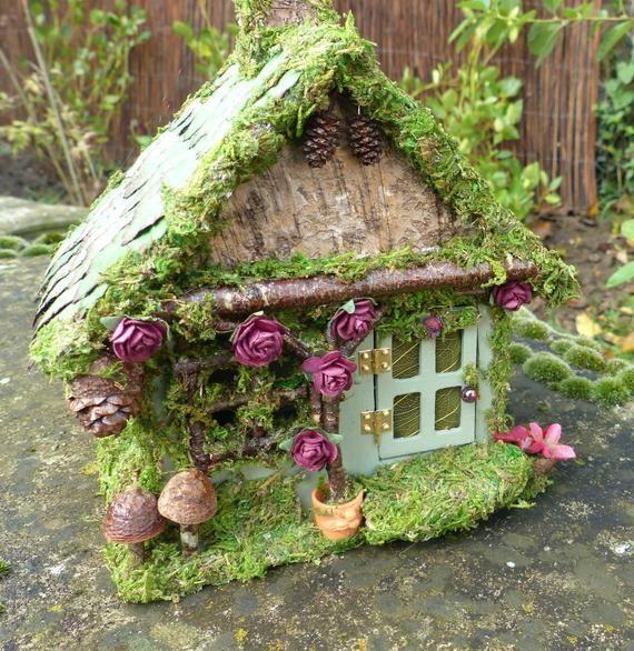 Miniature Fairy House - Birthday Gift, Home Decor, Imaginary Play, Fairy Garden, Fairy Lights, Miniature Cottage, Nite Lite, Indoor Garden - Fairy Homes