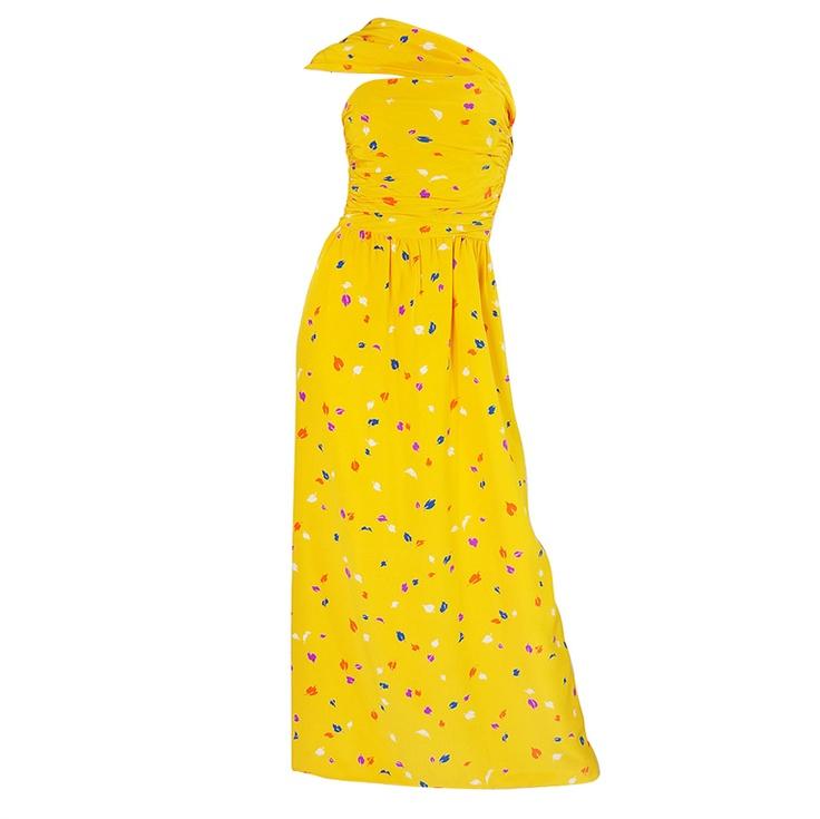 1970s Oscar De La Renta Silk Maxi Dress