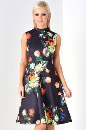 Ann Floral High Neck Dress in Black