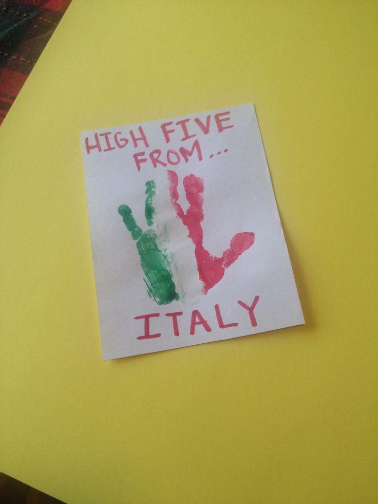 Cultural Diversity Italian Flag Handprint!