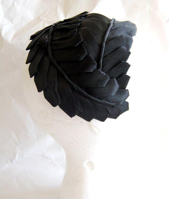 Vintage 1950s Women's Chic Wrap Style Black Straw Hat by Hattie Carnegie