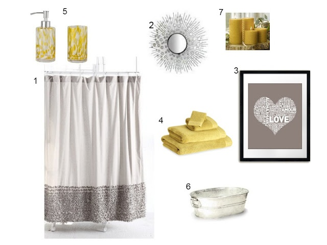 grey and yellow bathroom... Got yellow towels, grey curtain, yellow candle and soap dispenser... Just need grey bath mat... And matching decor!