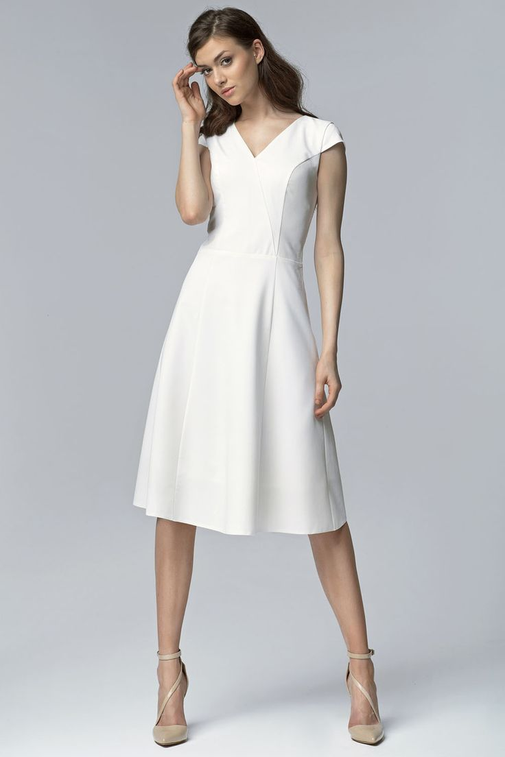 Ecru V Neck Cross Bodice Seam Dress with Cap Sleeves