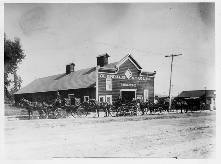 Glendale Stables, located on Glendale Avenue, 1909. The stable was owned and operated by Thomas O. Pierce. Glendale Central Public Library. San Fernando Valley History Digital Library.