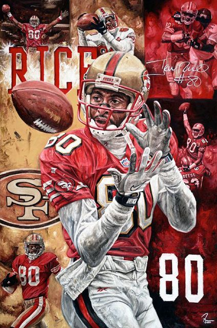 """Jerry Rice """"The Pinnacle"""" painting by Justyn Farano  Quest for Six"""