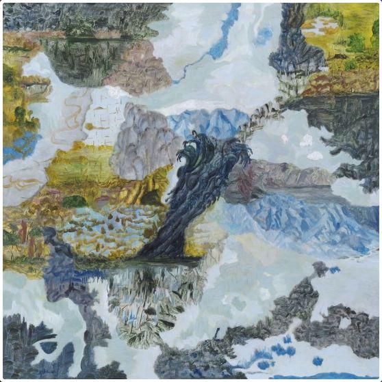 Barbara Tuck, Ghosting Otira, 2010, Oil on board, 750 x 750mm