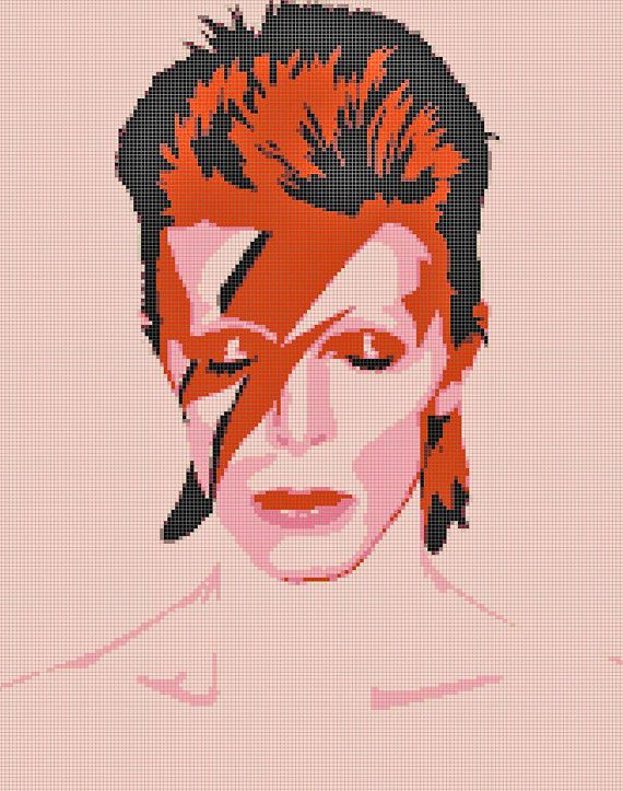 The Rise and Fall of Ziggy Stardust David by BellaStitcheryDesign, $9.99