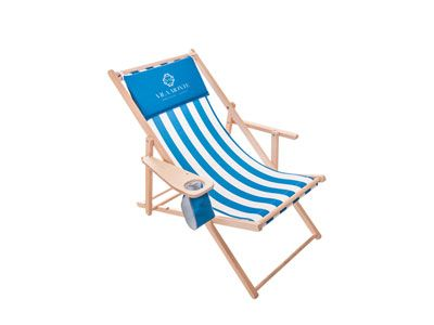 """Liegestuhl """"Drink"""" mit Armlehnen und Getränkehalter individuell mit Logo oder vollflächigem Layout bedrucken, Holzliegestühle, Holzliegestuhl, klappbar, Werbeliegestühle ua. für Gastronomie und Tourismus"""