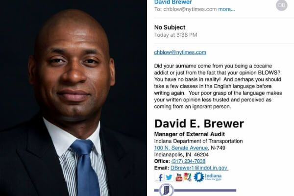 """The Indiana Department of Transportation """"immediately"""" placed an employee on unpaid suspension after he sent a Black newspaper columnist a degrading email."""