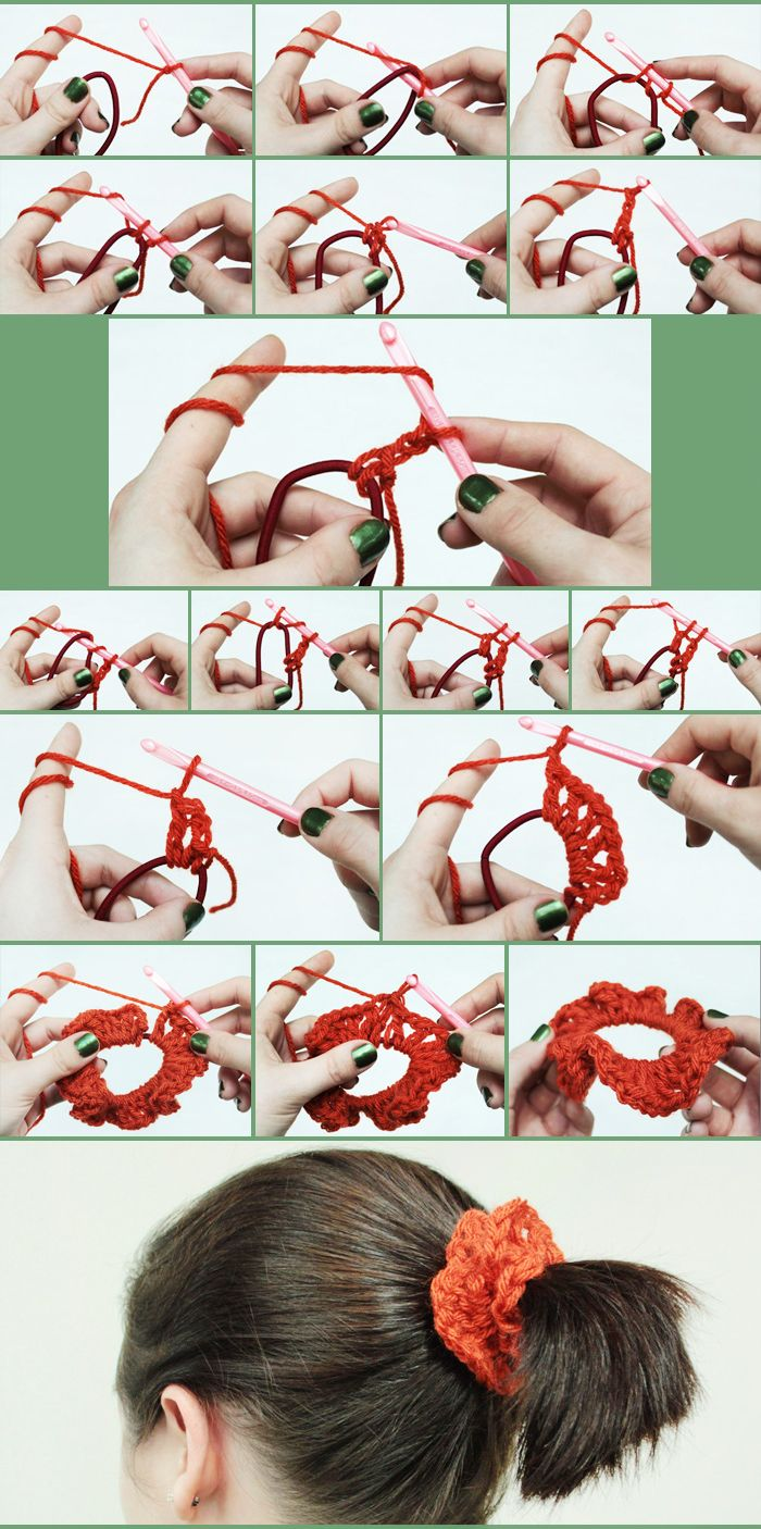 Dress Up a Hair Tie: Make a DIY No-Sew Scrunchy- would be interesting with fluffy or sparkly yarn