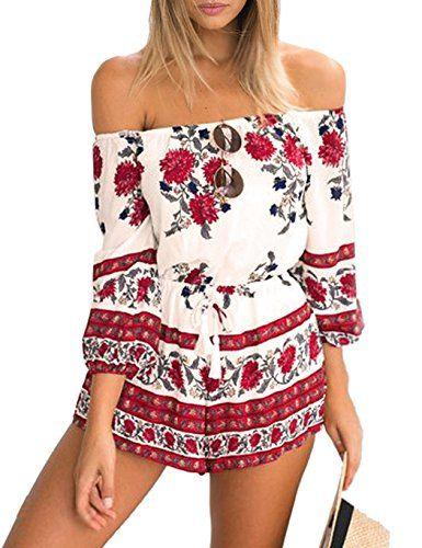 CRAVOG Sexy Damen Overall Sommer Blumendrucken Schulterfr…