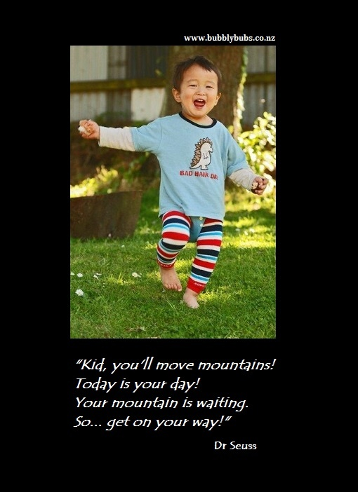 """""""Kid you'll move mountains..."""" Dr Seuss and Bubbly Bubs leg warmers."""
