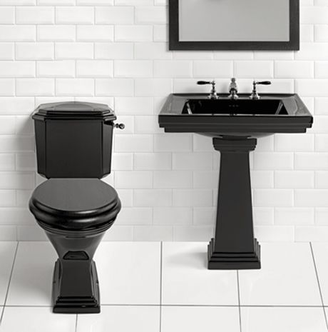 Black Bathroom Basin : Canterbury Warrington Deco Pedestal Basin and Toilet in Black. Taking ...