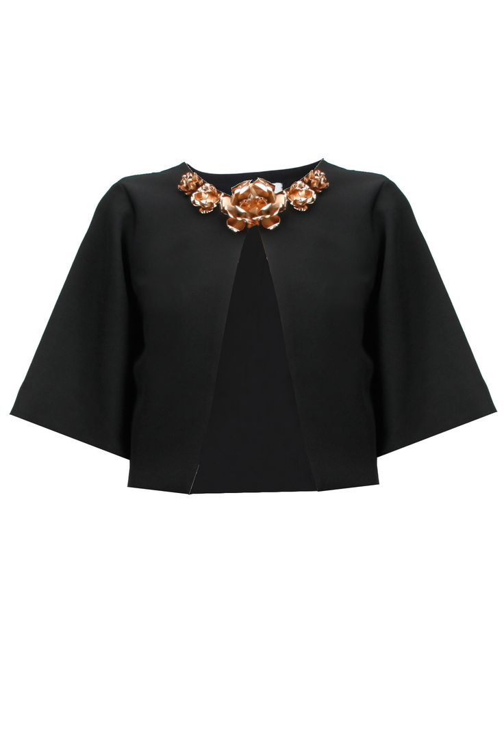 Black metal flowers embellished bolero jacket available only at Pernia's Pop-Up Shop.