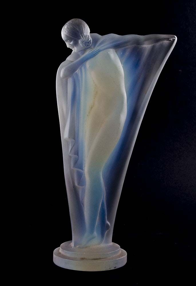 Art Deco opalescent glass statuette of a semi-clad girl. Signed on base ETLING FRANCE. Circa 1930.