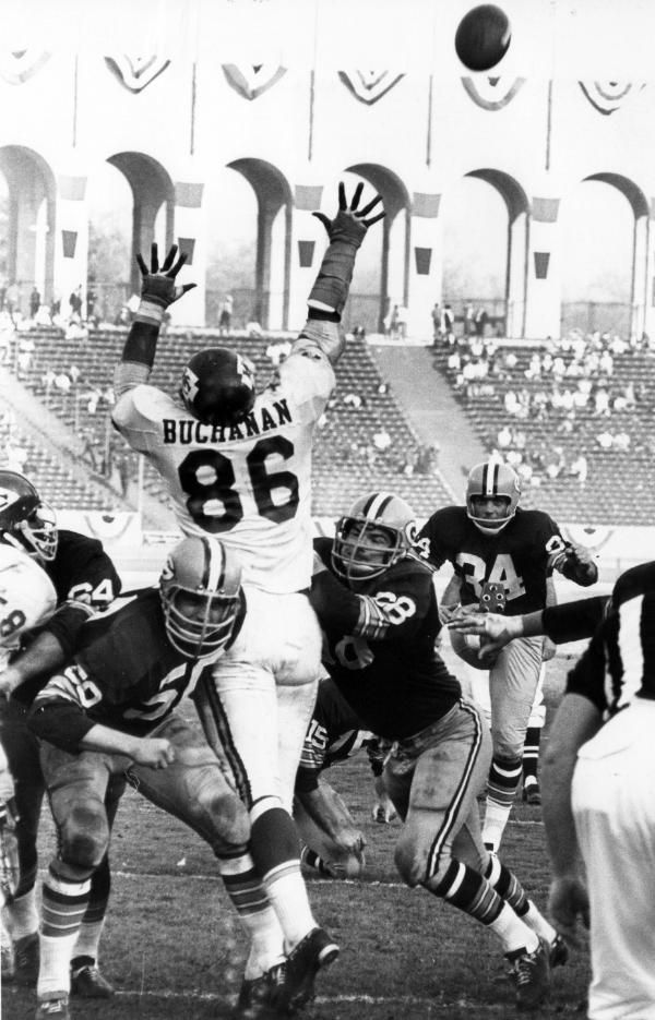 Buck Buchanan  Kansas City Chiefs Hall of Fame defensive tackle Buck Buchanan (86) comes well short of blocking Green Bay Packers kicker Don Chandler's (34) extra point during Super Bowl I, a 35-10 Packers victory on January 15, 1967, at the Los Angeles Memorial Coliseum in Los Angeles, California. (Photo by Vernon Biever/NFL Photos)