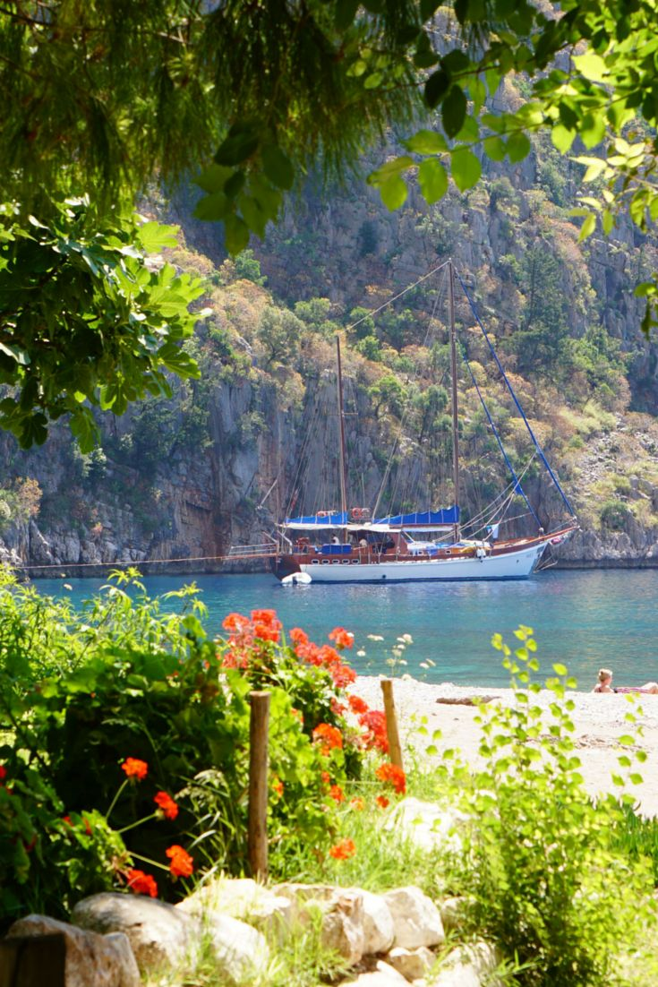 The gorgeous beach of Butterfly Valley in Turkey.  I recommend it to anyone who loves peace, nature, and relaxation : )