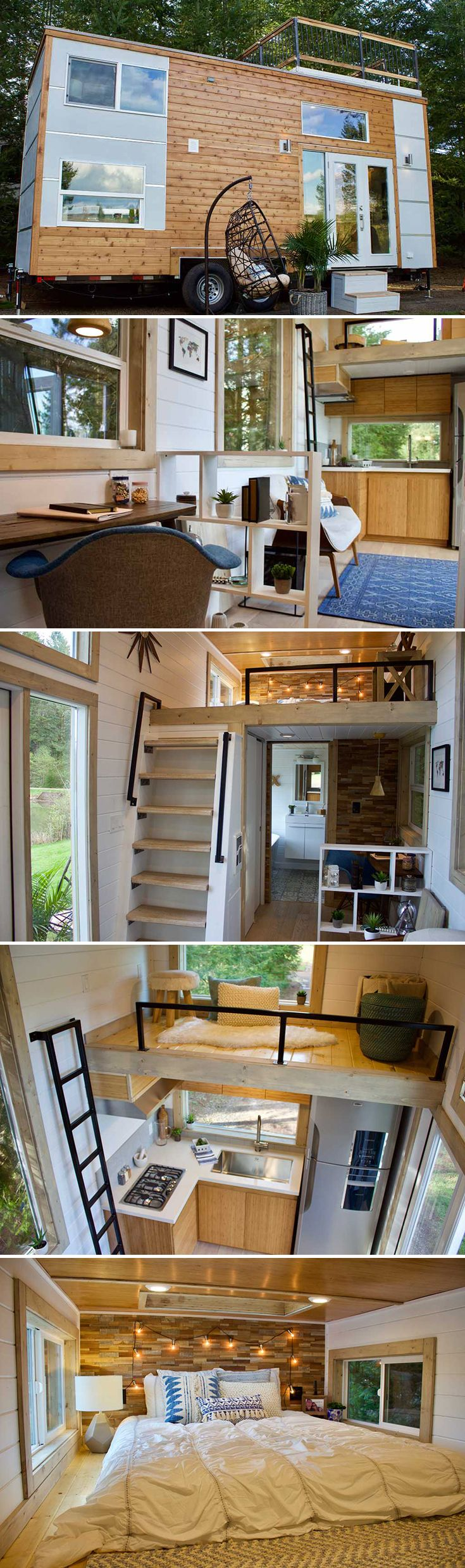 The Live/Work Tiny Home includes a rooftop deck, home office, bedroom loft, storage loft, and an L-shaped kitchen with cooktop and full size refrigerator.