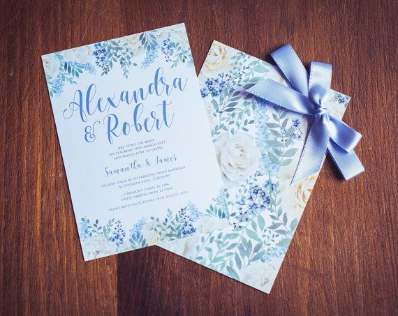Cornflower blue wedding invitation – www.etsy.com/shop/gorgeousinvites