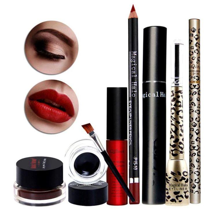 Qibest Makeup Set Eyebrow Enhancer Pencil Mascara+eye liner gel Eyeliner Pencil Leopard Print Eyeliner Liquid Lipgloss Kits Z3 //Price: $US $9.83 & FREE Shipping //     #shoes