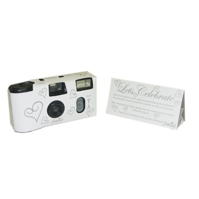 White Silver Hearts Wedding Party Disposable Cameras NEW
