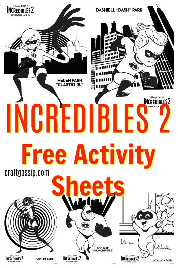 Incredibles 2 Free Printable Activity Sheets Free Coloring Pages Disney Activities Free Printable Activities