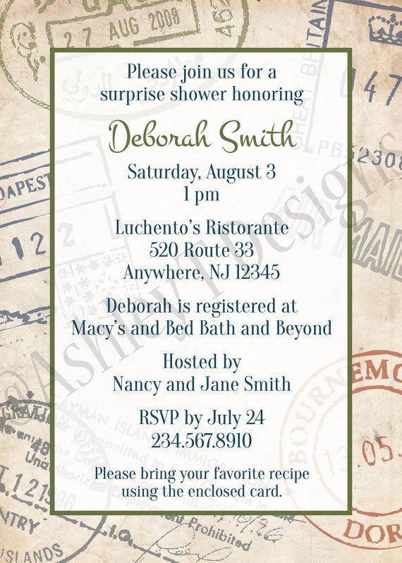 Customizable Travel Themed Party Invitation You Print Travel Themes Wedding Party Invites